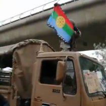 Militar alza bandera Mapuche en plena manifestación ciudadana