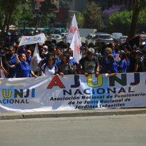 Trabajadores de la Mesa del Sector Público marchan por la Alameda en nueva jornada de paro nacional