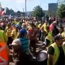 Trabajadores portuarios marchan por Concepción en este martes de Huelga General