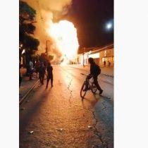 La explosión de un cilindro de gas en medio de una barricada en el centro de Talca