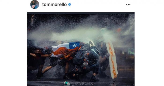 Imagen de fotógrafo chileno es destacada por integrante de Rage Against the Machine como símbolo de las manifestaciones