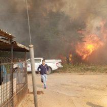 Incendio forestal amenaza viviendas del sector de Peralillo en la Región de O'Higgins