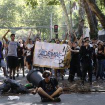 Providencia: disturbios en la USS, sede de rendición PSU, previo al inicio de la prueba