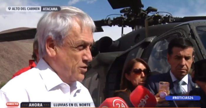 Piñera declara estado de catástrofe en 5 comunas afectadas por lluvias en Atacama