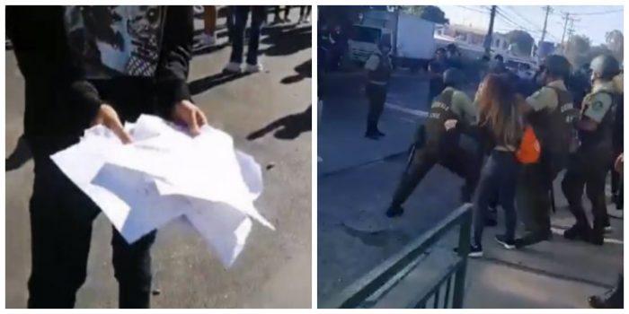 Suspenden PSU en Calama: quemaron documentos de la prueba y Carabineros detiene a 11 manifestantes