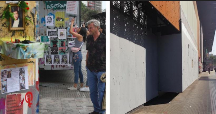 """Callar la calle: Centro GAM y Arte Alameda condenan el """"borrado"""" de sus fachadas que registraban la historia del estallido social"""
