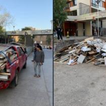 """Sospechoso: camioneta de Carabineros bota escombros en plena zona cero de las protestas """"con autorización municipal"""" pero Santiago se desmarca y anuncia multa"""
