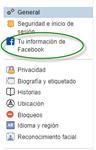 """Segundo paso, se selecciona la opción """"tu información en Facebook"""""""