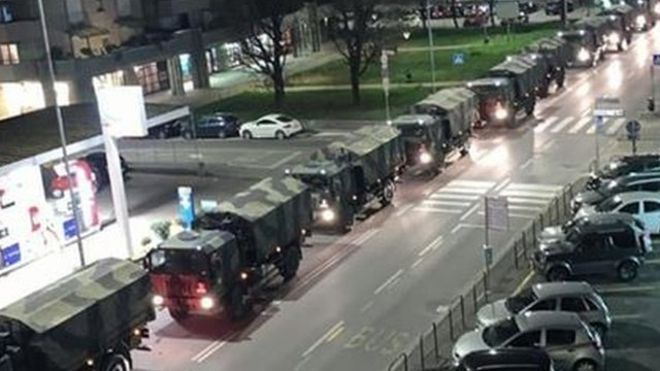 Coronavirus en Italia: las imágenes de los vehículos militares cargados con ataúdes en Bérgamo que han impactado a los italianos