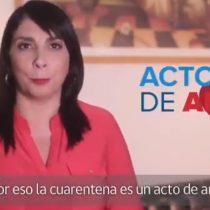 """""""La cuarentena es un acto de amor"""": el llamado de la vocera Karla Rubilar a la solidaridad en tiempos de coronavirus"""