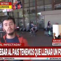 Le tosió en la cara a un periodista: chileno que dijo tener coronavirus hostigó a reportero en plena transmisión en TV argentina