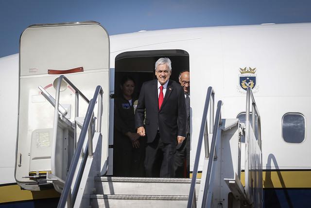 Piñera llega a Uruguay para el cambio de mando en su primer viaje fuera de Chile tras el estallido social