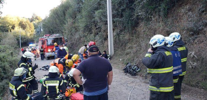 Volcamiento de un carro de Bomberos en Concepción dejó saldo de 7 lesionados