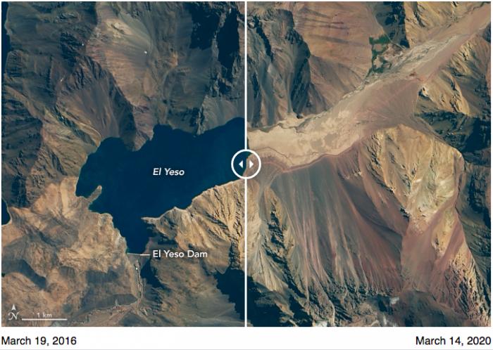 Fotos de la NASA revela la dramática reducción de agua del embalse El Yeso