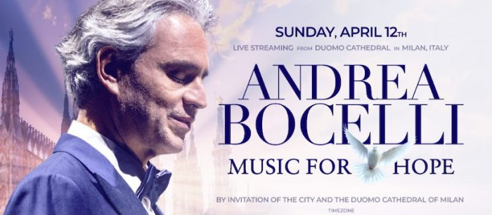 """Concierto """"Music for Hope"""" con Andrea Bocelli desde la Catedral de Milán vía online"""
