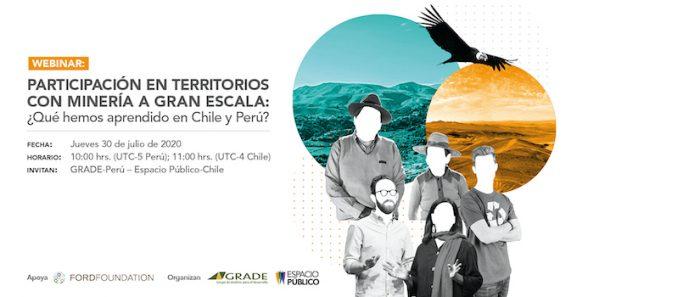 """Conversatorio """"Participación en territorios con minería a gran escala: ¿Qué hemos aprendido en Chile y Perú?"""" vía online"""