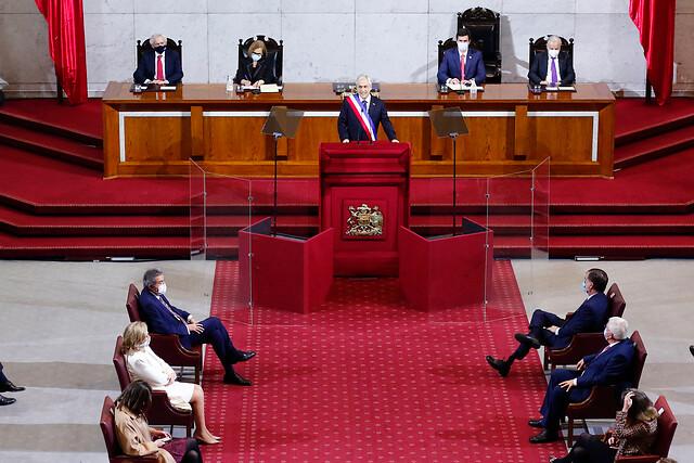 Piñera aprovecha la Cuenta Pública para insistir en su agenda de seguridad y apura al Congreso para que apruebe los proyectos