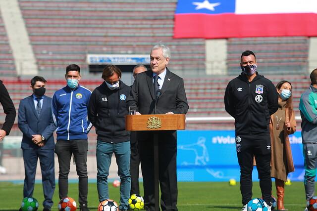 Presidente Piñera anunció el regreso del fútbol chileno para el fin de semana del 29 de agosto