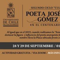 Facultad de Derecho de la Universidad de Chile conmemora al poeta anarquista José Domingo Gómez Rojas vía online
