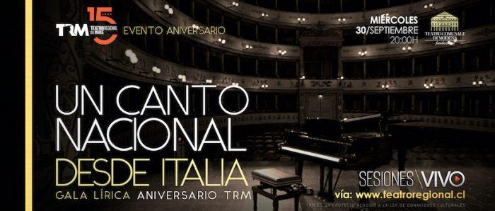 """Teatro Regional del Maule presenta """"Gala lírica aniversario, un canto nacional desde Italia"""" vía online"""