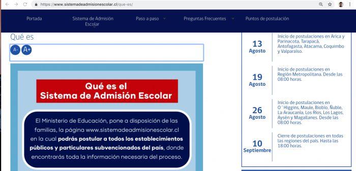 Sistema de Admisión Escolar publica los primeros resultados del proceso de postulación