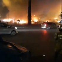 Disturbios terminaron con el incendio de cuatro buses Red en el sector de Las Rejas