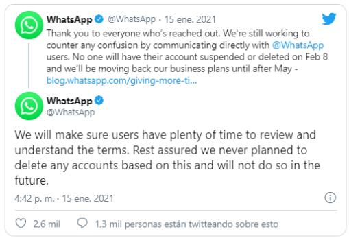 Elcomunicadode WhatsApp sobre las repercusiones de su anuncio.