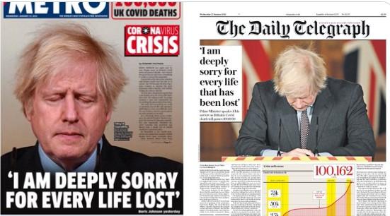 Las portadas de diarios ingleses con el mea culpa de Boris Johnson por las 100 mil muertes del Covid-19