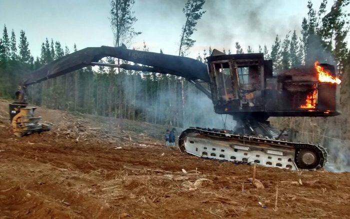 Encapuchados quemaron cinco máquinas en predio forestal en Galvarino