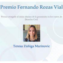 Hija de Teresa Marinovic gana premio a mejor alumna de Derecho Civil de la UC en cátedra que imparte su padrastro, el abogado Ricardo Enrique Alcalde