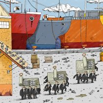 Ilustrador Marcelo Escobar recuerda Ley de Pesca en dibujo sobre proceso constituyente