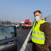 Constituyente Raúl Celis fue parte de choque múltiple en la Ruta 68 camino a Santiago