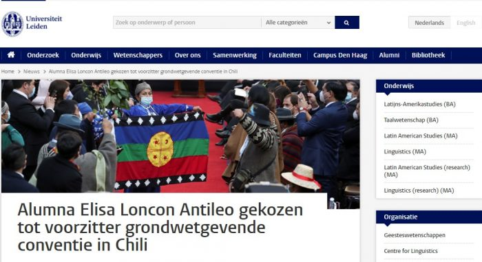 """El reconocimiento de la Universidad de Leiden a la """"Alumna Elisa Loncon Antileo"""""""