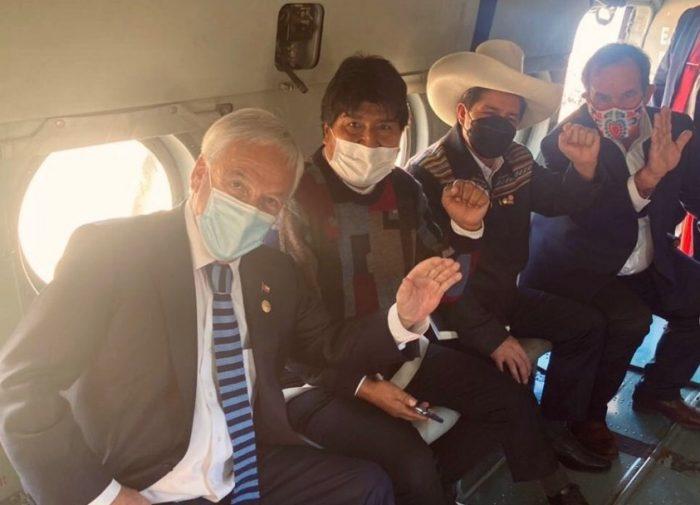 La intensa visita del Presidente Piñera a Perú: reuniones con Pedro Castillo, viaje en helicóptero con Evo Morales y