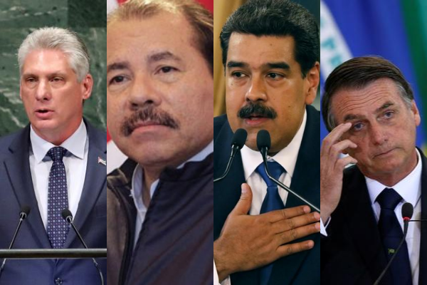 Díaz-Canel, Ortega, Maduro y Bolsonaro,