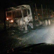 Ataque incendiario en Nacimiento: cinco camiones y una grúa quemados