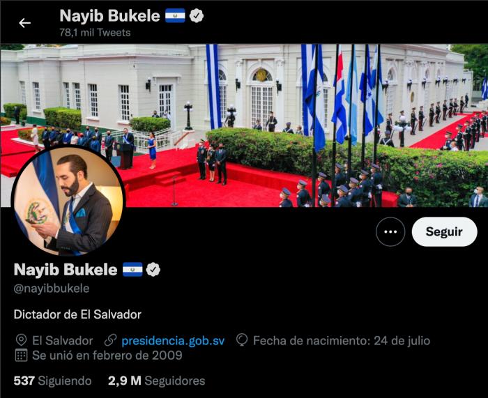 Nayib Bukele escribe en su biografía de Twitter