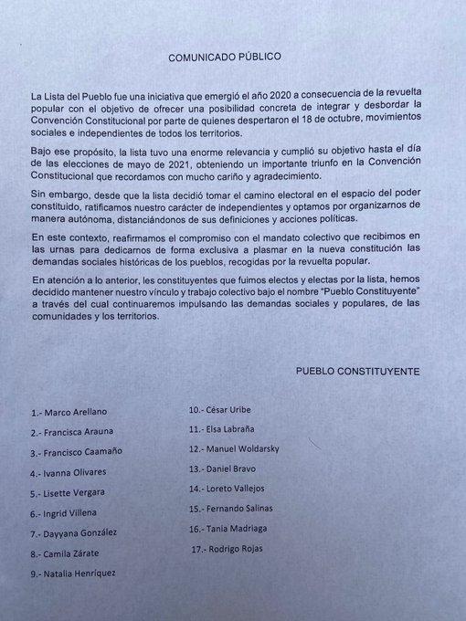 Declaración ex Lista del Pueblo